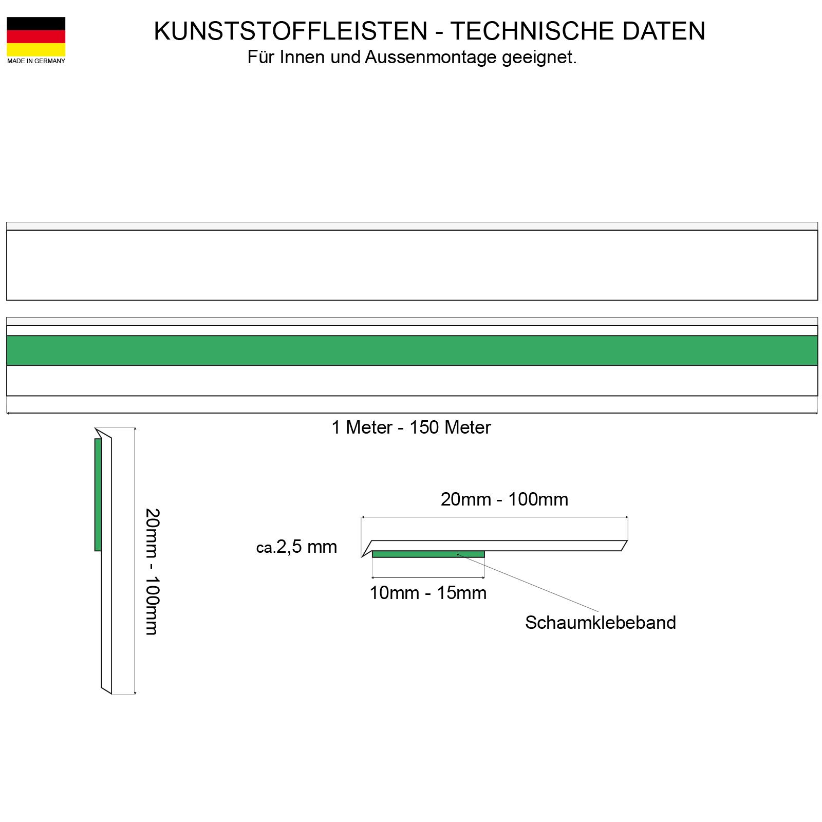 Fensterleisten Flachleisten in grau Made in Germany golden-oak 25 m 3,20/€ //m OHNE LIPPE anthrazit braun dunkelbraun 1 m bis 50 m Fensterleiste Flachleiste Abdeckleiste 30mm H/öhe